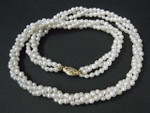 "4mm 3-Row Freshwater Pearl Necklace 18"" 14K 585 Gold Clasp"