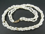 "4-5mm 3-Row Freshwater Pearl Necklace 18"" 14K 585 Gold Clasp & 15pcs. 14K Bead"