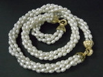 """5-6mm 4-Row Freshwater Pearl Necklace 18"""" & Bracelet 7.5"""" 18K G.P. Clasp"""