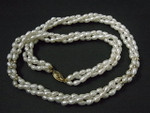 "4-5mm 3-Row Freshwater Pearl Necklace 18"" + 24pcs. 14K 585 Gold Beads & Clasp"