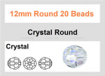 [ub10a1] 12mm Crystal Faceted Round 20 Beads