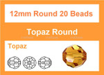 [ub10a12] 12mm Topaz Crystal Faceted Round 20 Beads