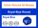 12mm Sapphire Crystal Faceted Round 20 Beads