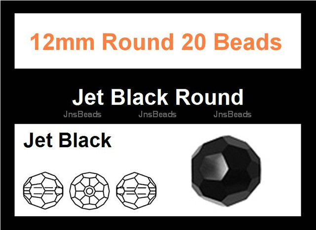 12mm Jet Black Crystal Faceted Round 20 Beads