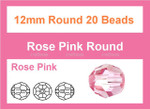 12mm Pink Crystal Faceted Round 20 Beads