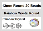12mm Rainblow Crystal Faceted Round 20 Beads