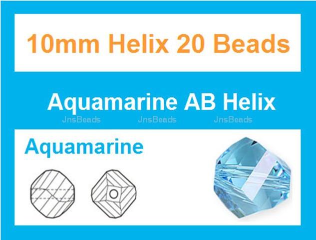 10mm Aquamarine Crystal Helix 20 Beads