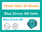 10mm Blue Zircon Crystal Helix 20 Beads