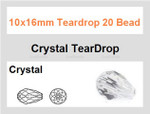 10x16mm Crystal Teardrop 20 Beads