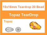 10x16mm Topaz Crystal Teardrop 20 Beads