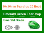 10x16mm Emerald Green Crystal Ab Teardrop 20 Beads