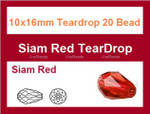 10x16mm Red Crystal Teardrop 20 Beads