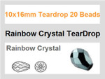 10x16mm Rainbow Crystal Teardrop 20 Beads