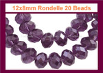 12x8mm Amethyst Crystal Faceted Rondelle 20 Beads