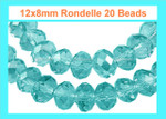 12x8mm Blue Zircon Crystal Faceted Rondelle 20 Beads