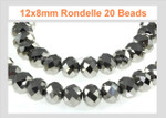 12x8mm Metallic Silver Crystal Faceted Rondelle 20 Beads