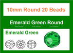 10mm Emerald Crystal Faceted Round 20 Beads