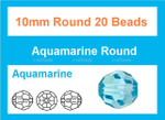 10mm Aquamarine Crystal Faceted Round 20 Beads