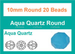 10mm Aqua Quartz Crystal Faceted Round 20 Beads