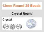 12mm Crystal Faceted Round 25 Beads