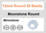 12mm Moonstone Faceted Round 25 Beads