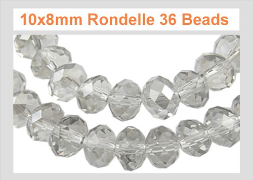 10x8mm Crystal Faceted Rondelle 36 Beads