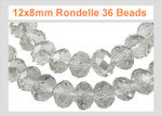12x8mm Crystal Faceted Rondelle 36 Beads