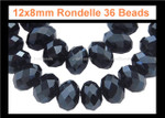 12x8mm Jet Black Crystal Faceted Rondelle 36 Beads