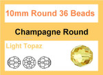 10mm Light Topaz Crystal Faceted Round 37 Beads