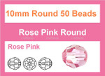 10mm Pink Crystal Faceted Round 25 Beads