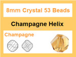 [ux625] 8mm Champagne Crystal Faceted Helix 53 Beads