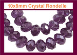 10x7mm Amethyst Crystal Faceted Rondelle 61 Beads [ux633]