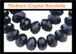 10x7mm Jet Black Crystal Faceted Rondelle 59 Beads [ux636]