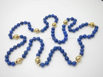 "6mm Lapis Lazuli & 14k 585 Gold Beads Necklace 30"""