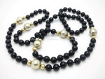 "8mm Buffalo Onyx & 14k 585 Gold & 925 Sterling Silver Beads Necklace 34"""