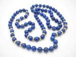 "8mm Lapis Lazuli & 14k 585 Gold Beads Necklace 34"""