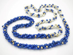 """4mm 3row Lapis Lazuli, Freshwater Pearl & 14k 585 Gold Beads Necklace 34"""""""