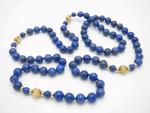 "8mm Lapis Lazuli & 14k 585 Gold Beads Necklace 30"""