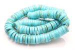 "12mm Blue Turquoise Heishi Beads 15.5"" [t3b12h]"