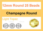 12mm Champagne Crystal Faceted Round 25 Beads [uc10a9c]