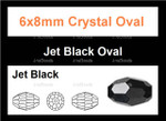 6x8mm Jet Black Crystal Faceted Rice 36 Beads