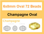 6x8mm Champagne Crystal Faceted Rice 36 Beads