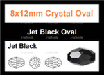 "8x12mm Jet Black Crystal Faceted Rice 36 Beads (Approx.16"")"