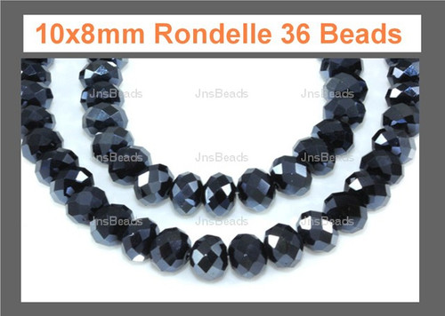 10x8mm Metallic Gray Crystal Faceted Rondelle 36 Beads