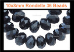 10x8mm Jet Black Crystal Faceted Rondelle 36 Beads