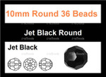 10mm Jet Black Crystal Faceted Round 36 Beads