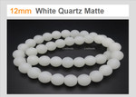 12mm Matte White Quartz Round Beads 15.5""