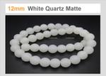 """12mm Matte White Quartz Round Beads 15.5"""""""