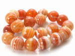 """12mm Red Stripe Agate Round Beads 15.5"""""""
