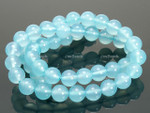 8mm Reconstituted Aqua Quartz Round Beads 15.5""